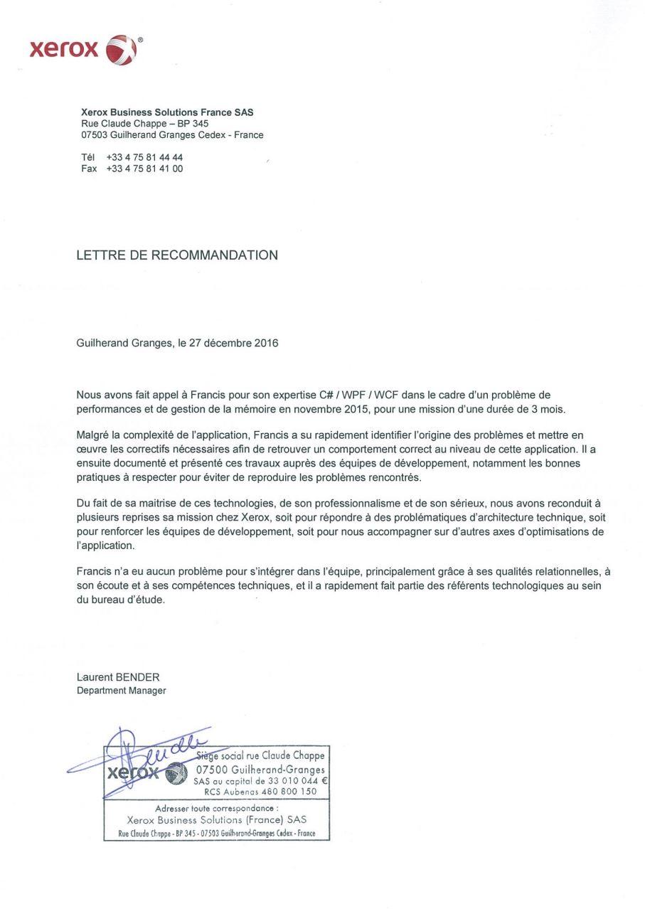 Recommandation Xerox